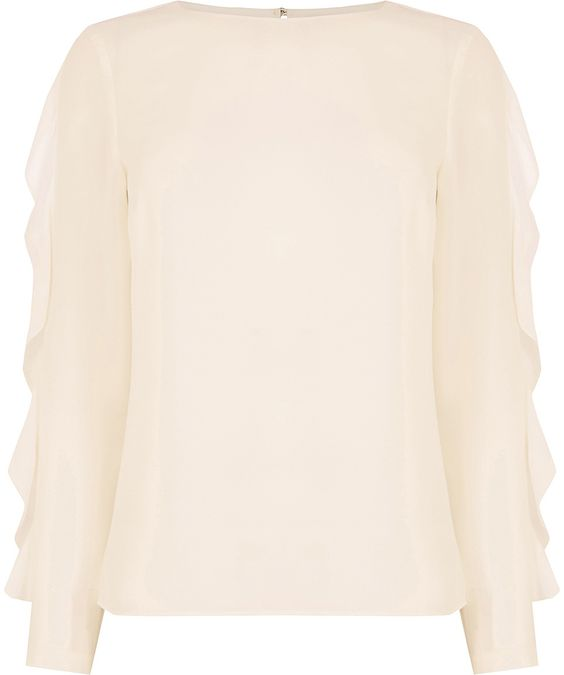 Womens cream frill sleeve blouse from Oasis - £32 at ClothingByColour.com