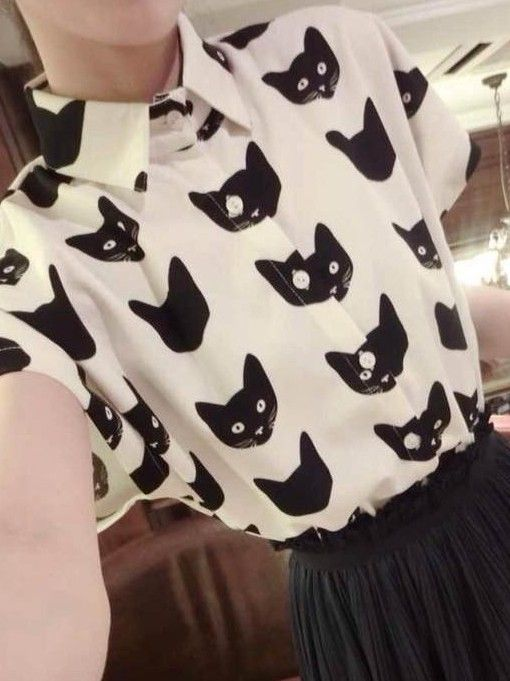 Kawaii Cat Blouse - Blouses | RebelsMarket would be so cute if all the buttons lined up with the eyes!: