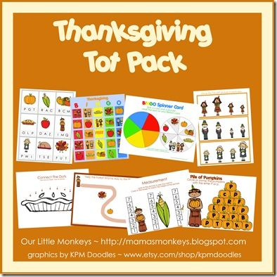 Free Thanksgiving Printables Tot Pack #homeschool / There are some great activities in here. There is a LOT though so you need a few minutes to go through it and decide what works for you.  We used 5-6 things. - Stephanie
