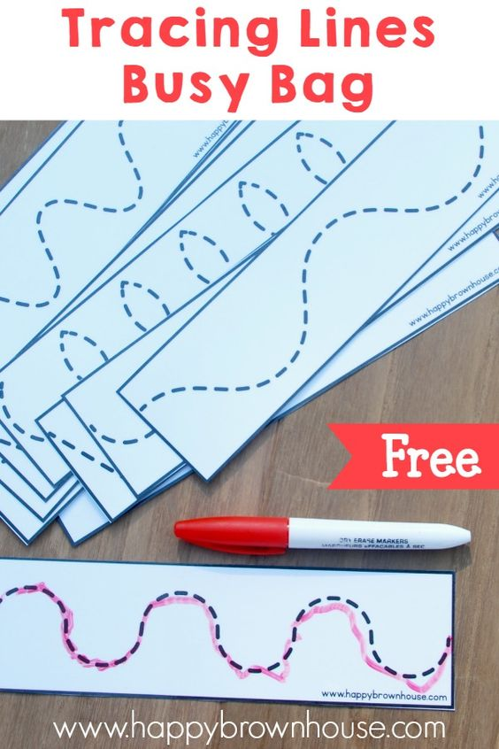 Tracing Lines Busy Bag (Free Printable) - writing practice on a go, write and wipe activity for multiple uses!