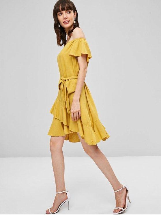 فستان مكسي بحزام من الكشكشة أصفر فاقع L Cute Casual Dresses Casual Dresses For Women Dresses Casual Fall