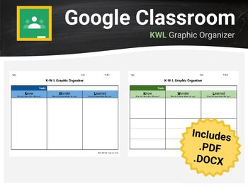 Help your students express what they know, what they want to know, and what the learned about a topic using this KWL Chart / Graphic Organizer for Google Classroom / Docs. No more messy formatting errors upon converting from .pdf or .docx to Google Docs; however, these file formats are also included in the download for your convenience.