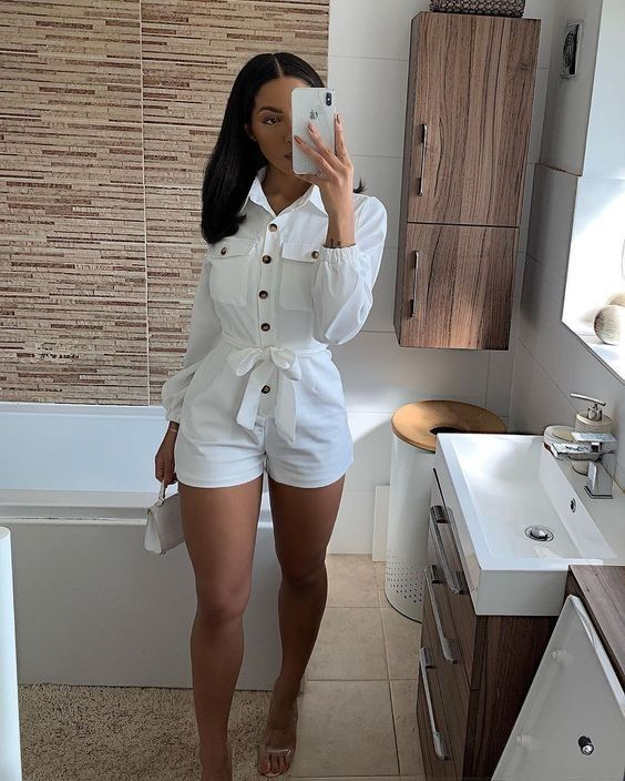 outfits blanco con short