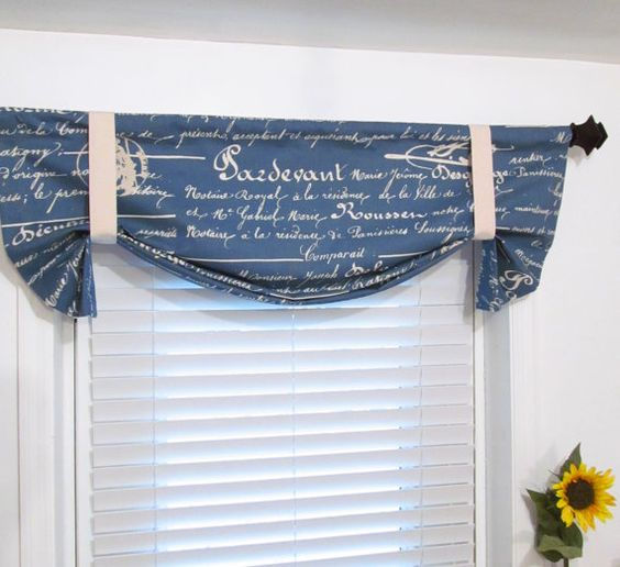 French Stamp Denim Blue Natural Tie Up Curtain Valance HANDMADE in ...