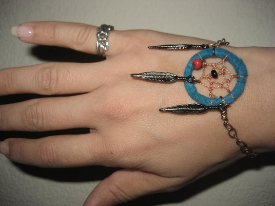 Dream Catcher Bracelet- Blue Adjustable Turquoise Coral Dreamcatcher. $17.50, via Etsy.