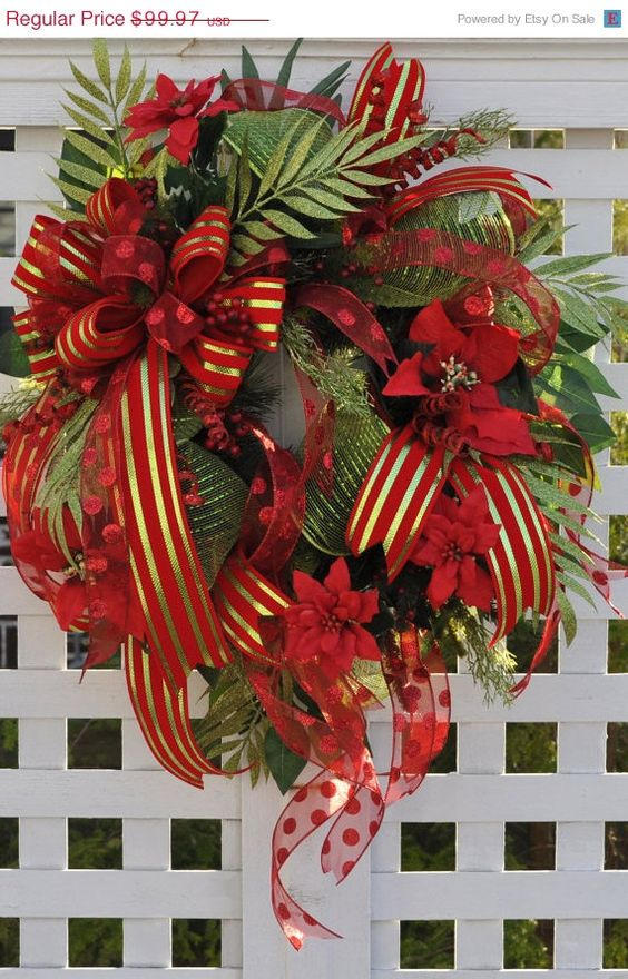 Wreaths for christmas door wreath full of deco mesh for Door garland christmas