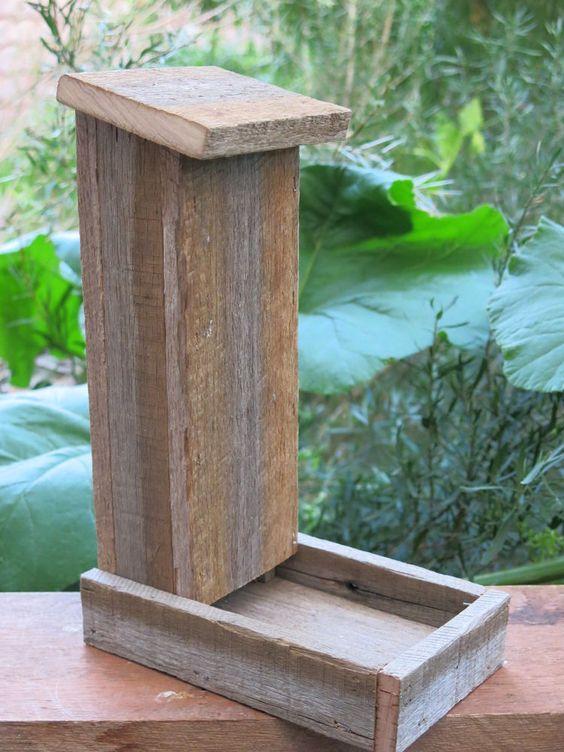 Handmade reclaimed recycled hardwood bird feeder via for Unique homemade bird feeders