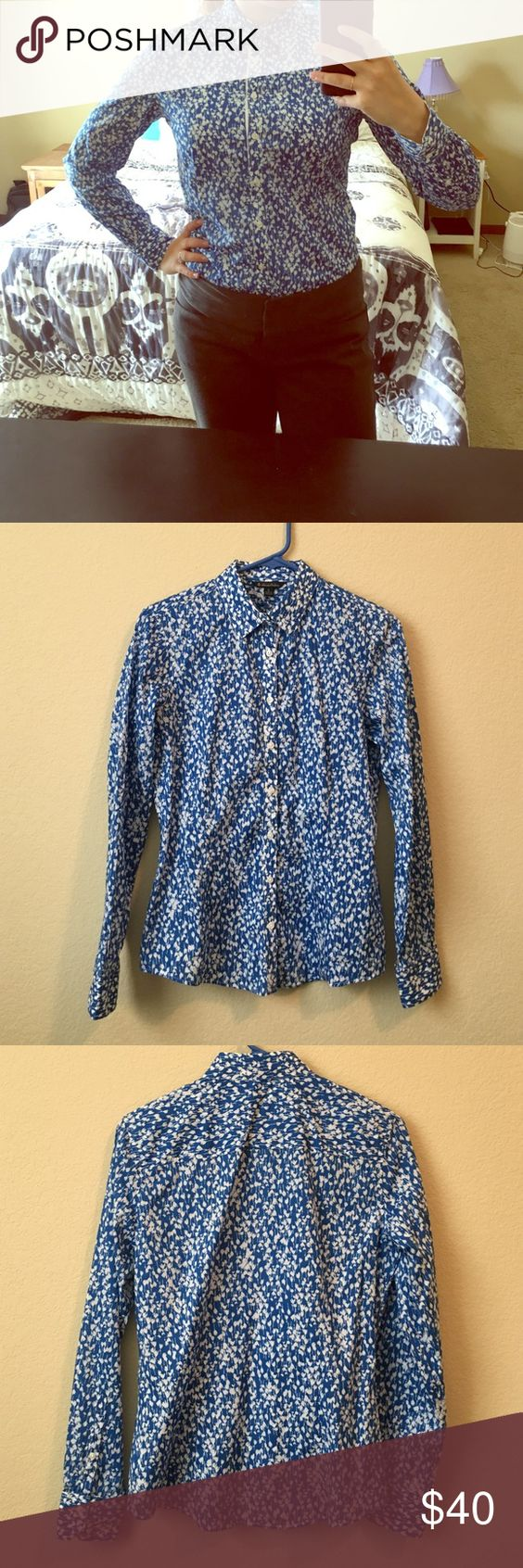 Gorgeous Brooks Brothers Blue Patterned Shirt - 6 Such a perfect button down for work or play! Brooks Brothers brand, size 6. In excellent used condition with no noticeable wear. 12oct16bdko Brooks Brothers Tops Button Down Shirts