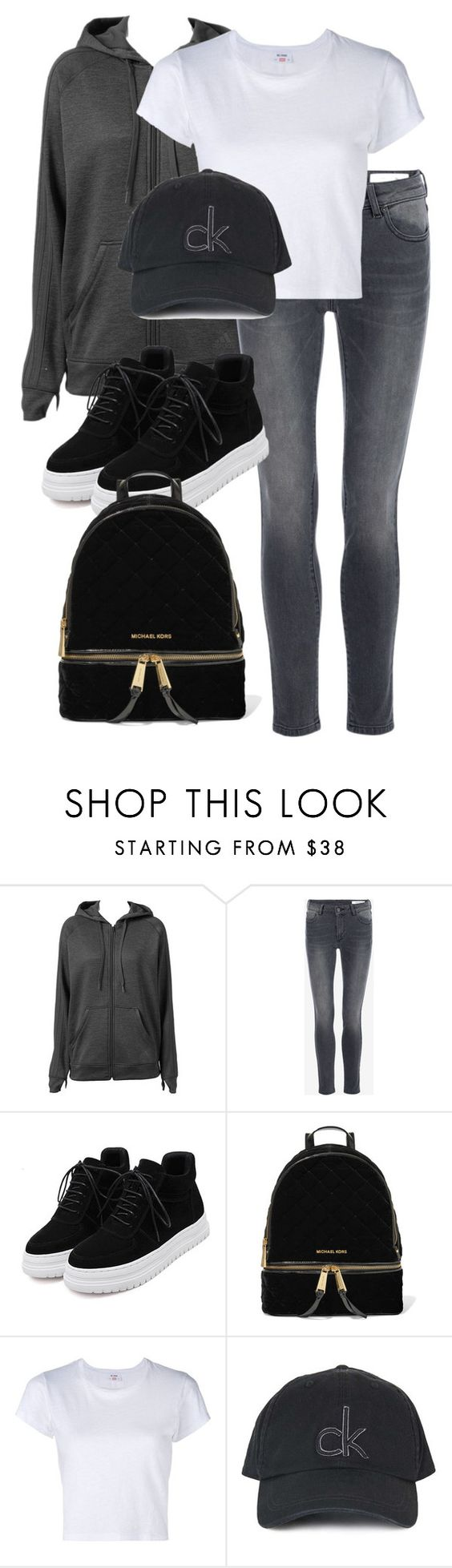 """""""Untitled #10237"""" by katgorostiza ❤ liked on Polyvore featuring adidas, MICHAEL Michael Kors, RE/DONE and Topshop"""