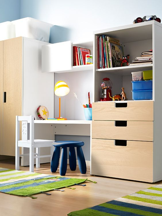 Give all those new toys a new home! The STUVA storage combination from IKEA is built at the right height for your little one - so it's easier for them to take out their toys (or put them away)!: