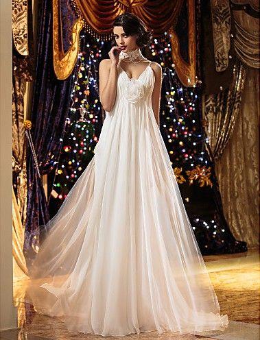 Plus Size Wedding Dresses Sheath/Column Spaghetti Straps Floor-length Chiffon Easebuy! Free Measurement!