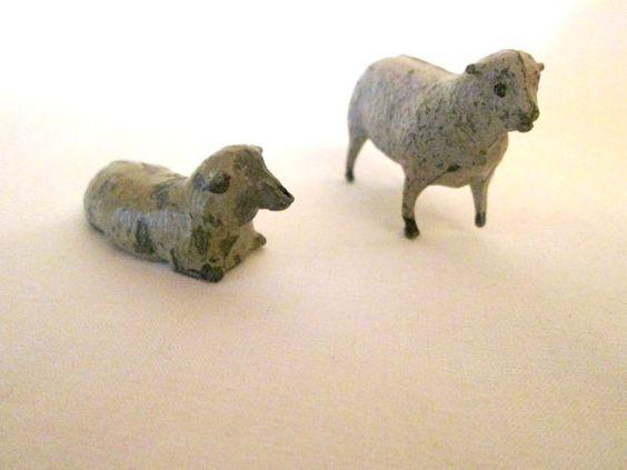 Vintage French Die Cast Sheep / Farm Rustic by AVintageStore