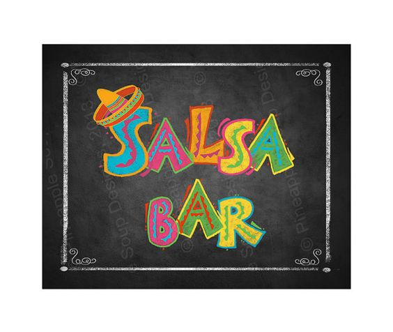 Fiesta Party SALSA BAR sign in chalkboard style - Birthday Fiesta Signage - PRINTABLE Diy poster on Etsy, $3.00