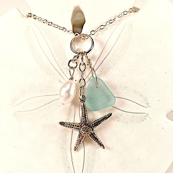Aqua Sea Glass Necklace With Sterling Starfish Charm