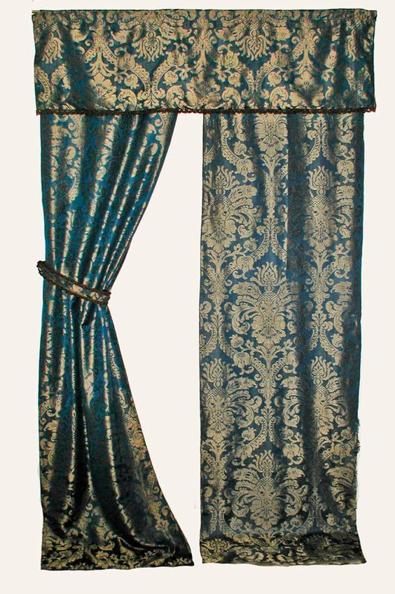 1920s Blue and Gold Lined Damask Curtains With Gold Metallic Trim ...