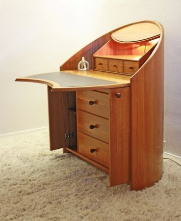 Danish Teak Modern Bent Wood Desk Secretary Mid Century. Oh my stars!!!!  I want this desk so bad!