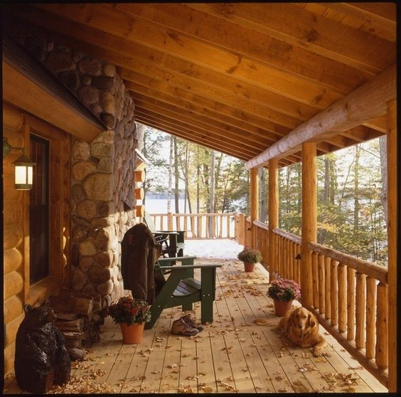 Log cabin deck house pinterest beautiful log homes for Log cabin porches and decks