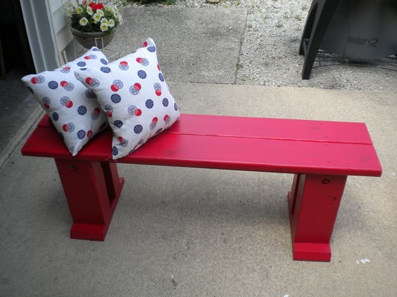 Simple little bench with a pop of color...