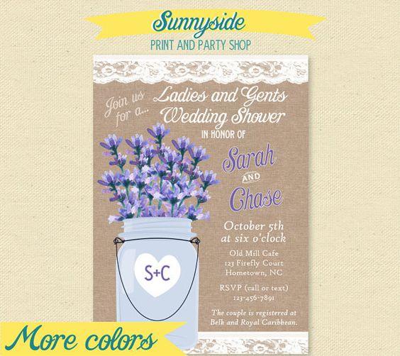 Rustic Lavender Wedding Shower Invite - Burlap & Lace - Couples Invitation on Etsy, $14.00