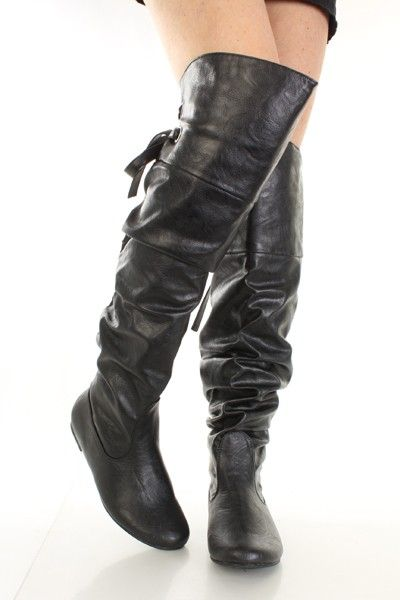 Flat Thigh High Leather Boots - Cr Boot