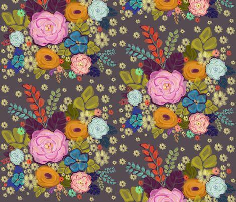 Folksy Floral Garden fabric by steelmagnoliastudios on Spoonflower - custom fabric