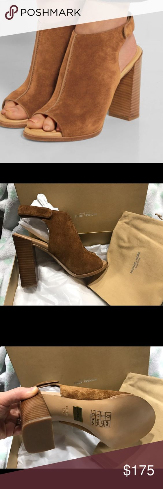 "New Michael Kors Collection Suede Open Toe Booties they're brand new with box in Luggage Color. size 7.5                                                                  A trend-right open-toe bootie crafted in velvety suede Stacked block, 4.25"" Suede upper Open toe Grip-tape ankle strap closure Leather sole Lightly padded insole Made in Italy Michael Kors Shoes Ankle Boots & Booties"