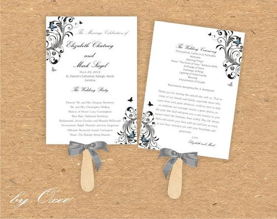 Printable Wedding ceremony fan program template Black and by Oxee, $7.00