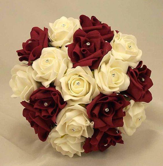 Burgundy-Silk-Wedding-Flower-Ideas-Burgundy-Ivory-Diamante-Bridesmaids-Bouquet