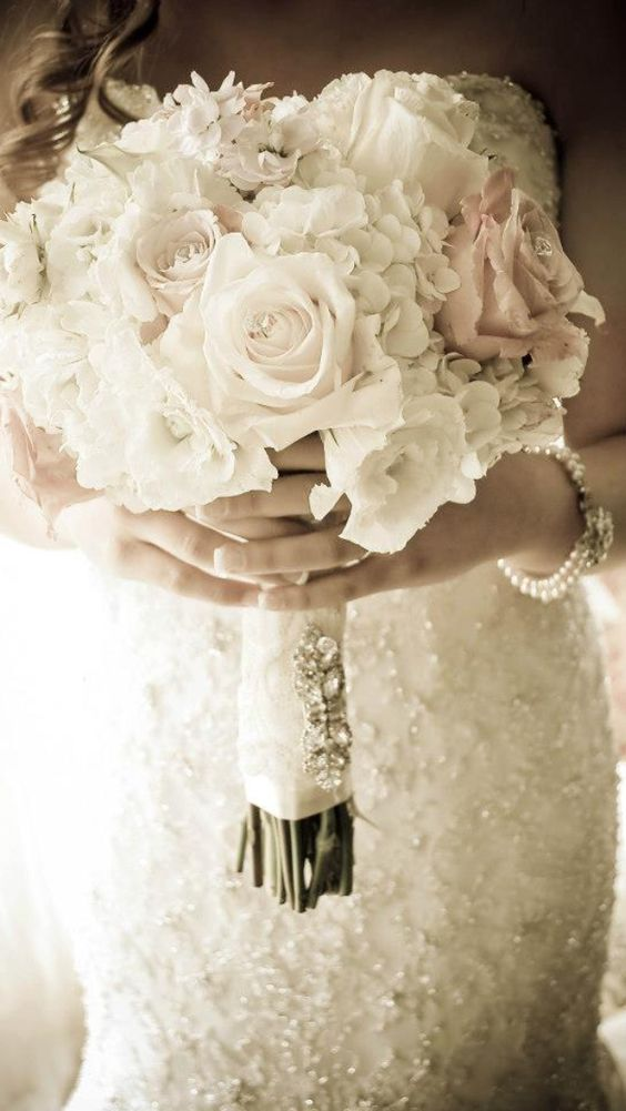 Perfect wedding bouquet, roses, hydrangeas, rustic, lace, broach