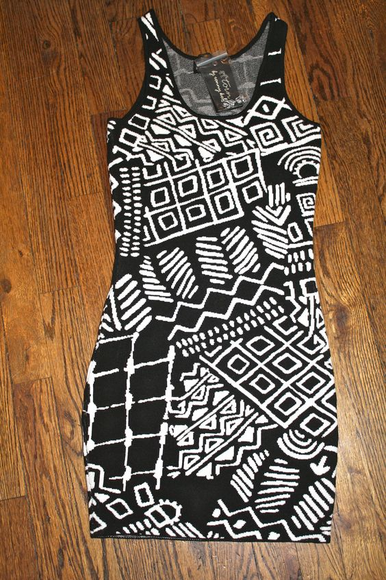 """Black/White Tribal Sleeveless Dress by Torn by Ronny Kobo ($59). Size XS.     For more information, e-mail thriftshare@gmail.com with the subject line """"Black/White Tribal Sleeveless Dress by Torn""""."""