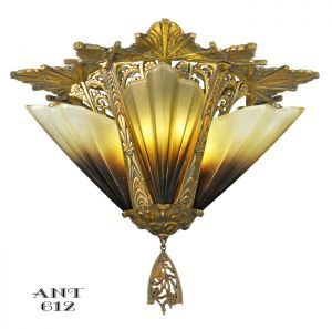 Antique Art Deco Flush Mount Short Ceiling Light Chandelier Mid-West (ANT-612) #vintage #reproduction #recreation #antique #art #deco #nouveau #doorknob #hardware #lighting #unique #switchplate #victorian #hinge #brass #cast #metal #eastlake #windsor #shade #crystal #glass #electrical #cover #gang #plate #pendant #arts #crafts #mission #period #decor #rail #railing #rococo #romantic #beaux #newel #post #knight #induction #grow #heat #lamp #church #gothic #goth