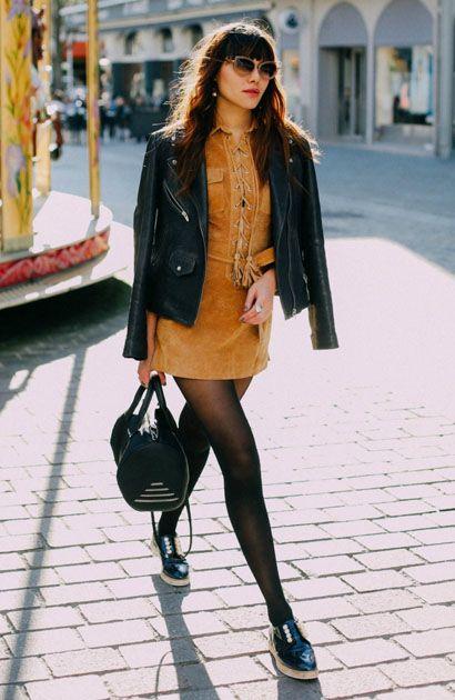 Natalie Suarez com Vestido Suede e Meia Calça