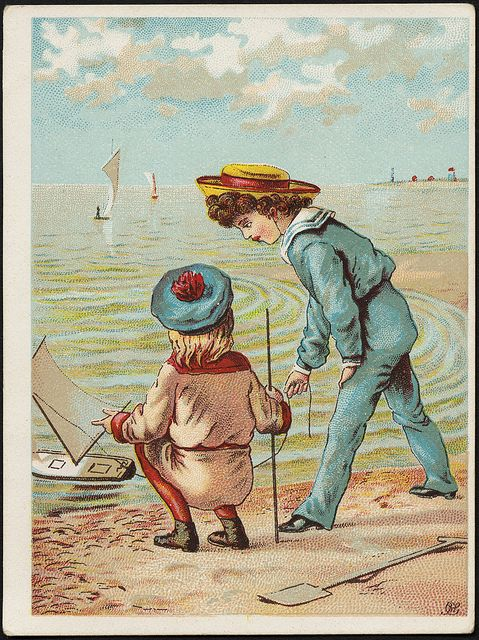 Girl and boy by the beach with a toy boat in the water. [front] | Flickr - Photo Sharing!