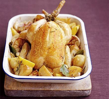 Foolproof slow roast chicken. Slow-roasting is a great way to keep the chicken nice and moist. Adding the potatoes to the roasting tin infuses them with plenty of flavour too.