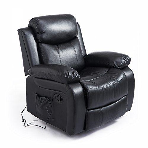 Homcom Fauteuil De Massage Et Relaxation Electrique Chauffant Inclinable Pivotant Repose Pied Telecommande Noir Fauteuil De Massage Transat Salon Cuir