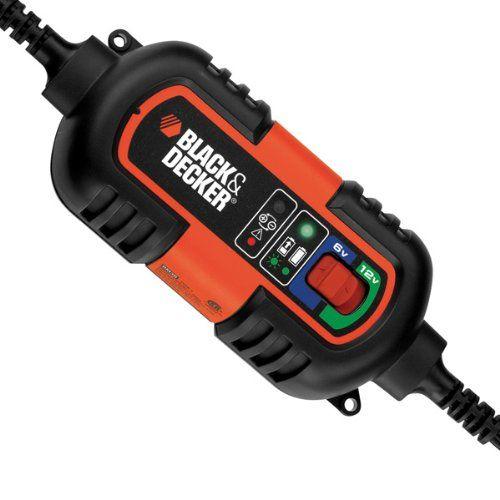 cargador de batería Black & Decker BDV090 Cargador de mantenimiento de Baterías 6 - 12 V totalmente automático. 3 tipos de conexión: salida 12V, pinzas de batería o terminales de anillo. Ideal para las baterías de plomo-ácido de 6V y 12V Mantenimiento de la batería: Mantiene la óptima carga de la batería cuando no está en uso.