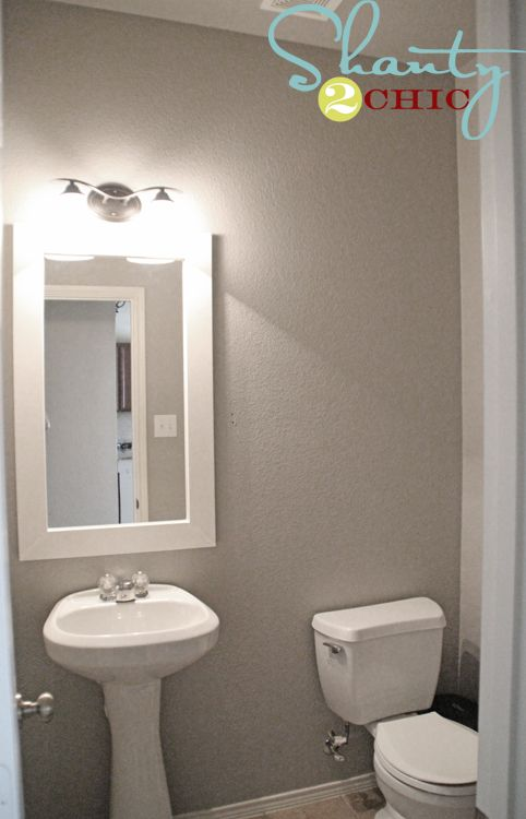 Paint colors boys and bath on pinterest for Guest bathroom makeover