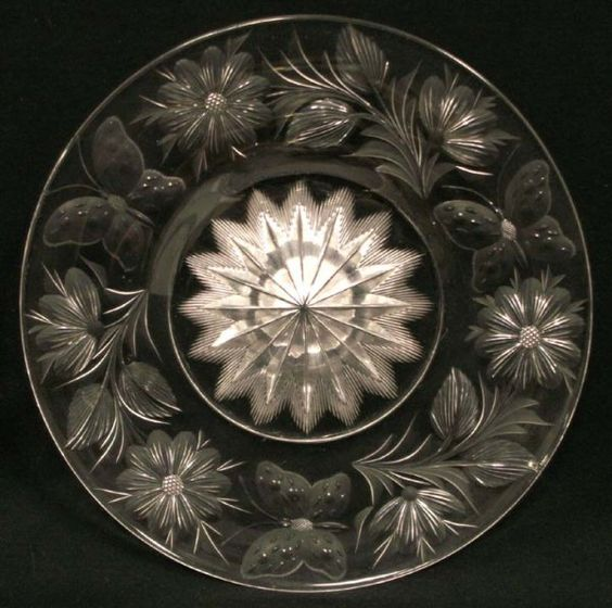 "Tuthill, Butterflies, American brilliant cut glass, 8"", 7-5h."