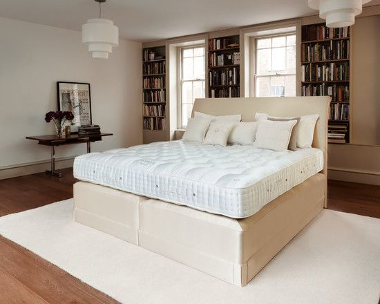 , Modern Bedroom Design With Unique Bedroom Furniture Like Beige Modern Bed Frame Also Beige Cushions And White Carpet Also Brown Laminate Floor And White Pendant Lights Also Adorable Bookshelves Design: Unique Bedroom Furniture and Ideas