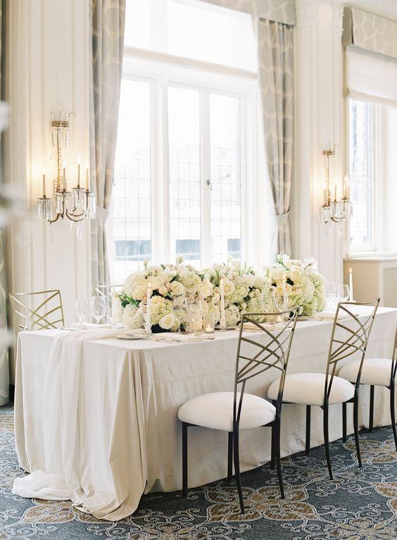 Gold and Ivory wedding table runners