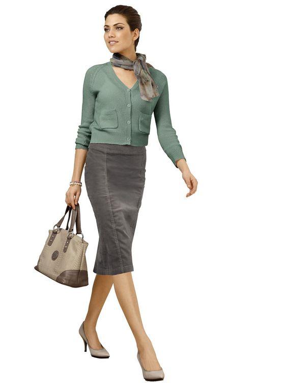 ALBA MODA BIANCO - Fluwelen rok grijs/groen