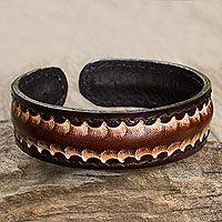 Men's leather cuff bracelet, 'Dark Warrior'