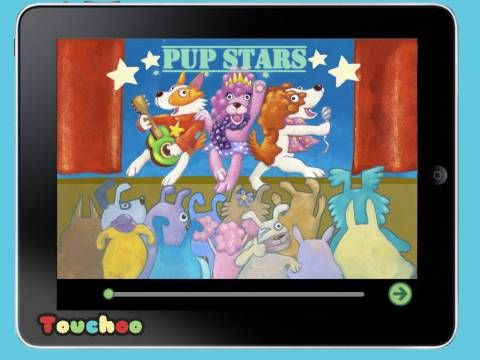 Pup Stars by @Touchoo - an interactive book about a dog who wants to become a pop star in an 'American Idol/X Factor' music competition (one of the judges is even named 'Simon Growl').  Original Appysmarts score: 84/100  #kids #apps #kidsapps