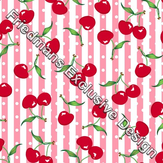 RUB117 Red on Pink Cherry White Spot & Stripe | Digital Print | Lycra Fabrics | Stretch Fabrics | Dancewear Fabrics | Swimwear Fabrics | Cherry Print