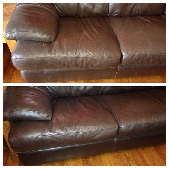 Leather Sofa Cleaner: Before And After Cleaning Leather Couches. Works Amazing
