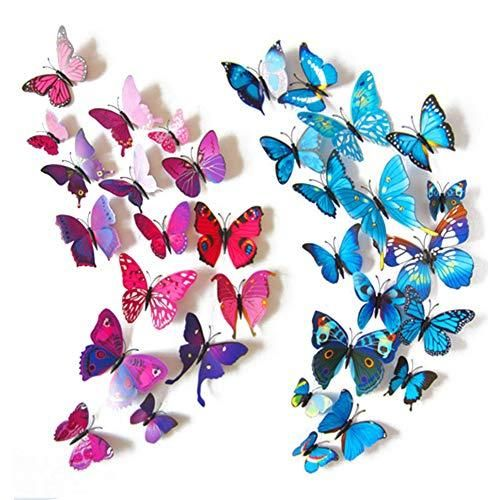 Hakday 24 Pcs 3d Butterfly Wall Stickers Crafts Butterflies Diy