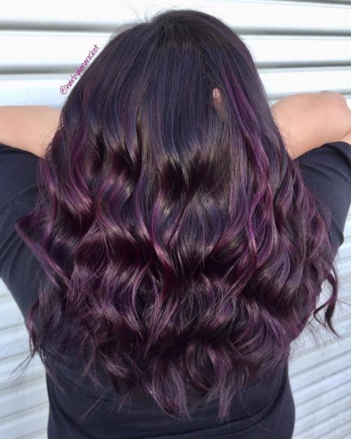 21 Dark Purple Hair Color Ideas Trending In 2020 Dark Purple Hair Dark Purple Hair Color Eggplant Colored Hair