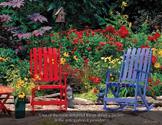 "Flowers & Gardens - 2016 Promotional Calendar  April 2016 - summer garden in red with red furniture and flowers blooming  ""One of the most delightful things about a garden is the anticipation it provides""  W. E. Johns"