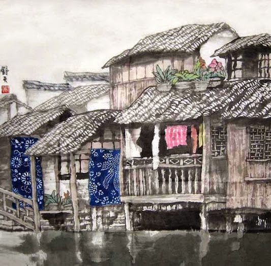 A traditional Chinese water town, modern ink painting by a contemporary Chinese artist