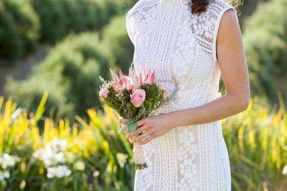 Hidden Valley Wedding King protea wedding bouquet Lover the Label dress
